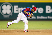 Donovan Solano (11) of the Springfield Cardinals fields a ground ball during a game against the Corpus Christi Hooks at Hammons Field on August 13, 2011 in Springfield, Missouri. Springfield defeated Corpus Christi 8-7.  (David Welker / Four Seam Images)