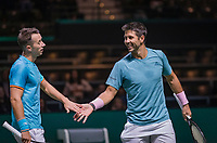 Rotterdam, The Netherlands, 11 Februari 2019, ABNAMRO World Tennis Tournament, Ahoy, first round doubles:  Philipp Kohlschreiber (GER) - Fernando Verdasco (ESP)  (R), Photo: www.tennisimages.com/Henk Koster