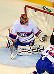 15 November 2008:  Montreal Canadiens' goaltender Jaroslav Halak from Slovakia has one go over the crossbar in the third period against the Philadelphia Flyers  during their first meeting in Montreal since the Flyers knocked the Canadiens out of the playoffs last season. The Canadiens, celebrating their 100th season, fell to the visiting Flyers 2-1 at the Bell Centre in Montreal, Quebec, Canada. ***Editorial Sales Only***..Mandatory Photo Credit: Ed Wolfstein Photo *** Editorial Sales through Icon Sports Media *** www.iconsportsmedia.com