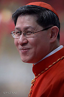 Cardinal Luis Antonio Gokim Tagle.Pope Francis leads a consistory for the creation of five new cardinals  at St Peter's basilica in Vatican.  from countries  : El Salvador, Laos, Mali,Sweden and Spain.<br /> Cardinal Gregorio Rosa Chavez from Salvador;Cardinal Louis-Marie Ling Mangkhanekhoun from Laos;Cardinal Anders Arborelius from Sweden;Cardinal Jean Zerbo from Mali;Cardinal Juan Jos&eacute; Omella of Spainon June 28, 2017