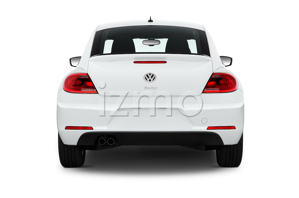 Straight rear view of 2016 Volkswagen Beetle 1.8T-S-Auto-PZEV 3 Door Hatchback Rear View  stock images