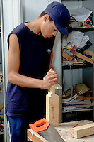 14-16yr olds on School Link Programme at Further Education College doing Carpentry.