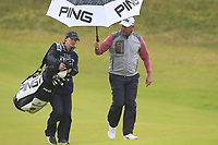 Lee Westwood (ENG) and caddy Helen Storey walk to the 8th green during Sunday's Final Round of the 148th Open Championship, Royal Portrush Golf Club, Portrush, County Antrim, Northern Ireland. 21/07/2019.<br /> Picture Eoin Clarke / Golffile.ie<br /> <br /> All photo usage must carry mandatory copyright credit (© Golffile | Eoin Clarke)