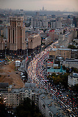 Moscow, Russia<br /> September 17, 2009<br /> <br /> A view of Moscow's serious evening rush-hour traffic on ulitsa Zatsepskiy Val heading out of the city - seen from the City Space Bar &amp; Lounge a 360 degree panoramic cocktail bar on the top - 34th floor of the 5-star Swissotel Krasnye Holmy Hotel.