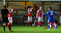 Fleetwood Town players react after Leicester City U21s' Ryan Loft scored the equalising goal deep into injury time<br /> <br /> Photographer Alex Dodd/CameraSport<br /> <br /> The EFL Checkatrade Trophy - Northern Group B - Fleetwood Town v Leicester City U21 - Tuesday September 11th 2018 - Highbury Stadium - Fleetwood<br />  <br /> World Copyright &copy; 2018 CameraSport. All rights reserved. 43 Linden Ave. Countesthorpe. Leicester. England. LE8 5PG - Tel: +44 (0) 116 277 4147 - admin@camerasport.com - www.camerasport.com