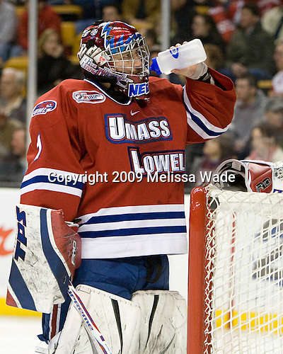 Nevin Hamilton (UMass-Lowell - 1) - The Boston University Terriers defeated the University of Massachusetts-Lowell 1-0 in the Hockey East Championship Final on Saturday, March 21, 2009, at the TD Banknorth Garden in Boston, Massachusetts.