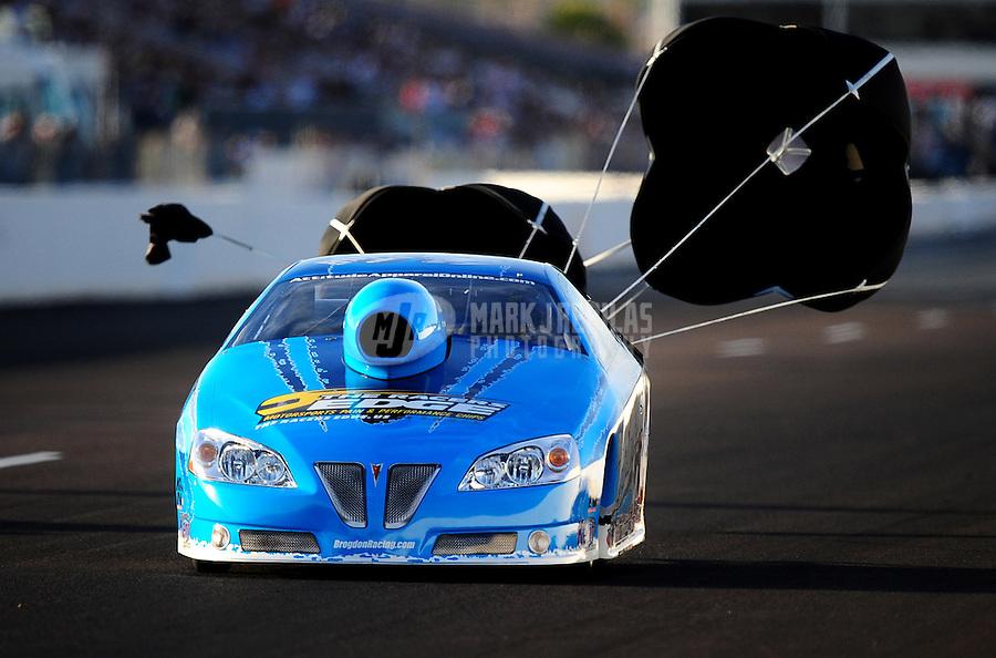 Feb. 19, 2010; Chandler, AZ, USA; NHRA pro stock driver Rodger Brogdon during qualifying for the Arizona Nationals at Firebird International Raceway. Mandatory Credit: Mark J. Rebilas-
