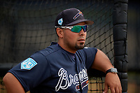 Atlanta Braves Wigberto Nevarez (22) during practice before a Minor League Spring Training game against the New York Yankees on March 12, 2019 at New York Yankees Minor League Complex in Tampa, Florida.  (Mike Janes/Four Seam Images)