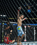 Damarques Johnson reacts to winning his welterweight match with a TKO against Clay Harrison during Saturday's UFC on Fox event at the Honda Center.