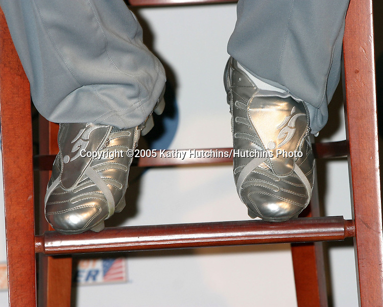 David Beckham wearing the Logo Silver Shoes.David Beckham and AEG announce in a  Press Conference that they are to Launch Soccer Academy beginning in Fall 2005 at the Home Depot Center in So California..Carson, CA.June 2, 2005.©2005 Kathy Hutchins / Hutchins Photo