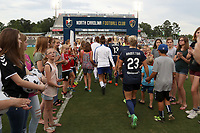 Cary, North Carolina  - Saturday June 17, 2017: The starters march onto the field prior to a regular season National Women's Soccer League (NWSL) match between the North Carolina Courage and the Boston Breakers at Sahlen's Stadium at WakeMed Soccer Park. The Courage won the game 3-1.