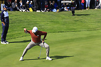 Sergio Garcia (Team Europe) sinks his birdie putt to win the match on the 17th green during Saturday's Fourball Matches at the 2018 Ryder Cup 2018, Le Golf National, Ile-de-France, France. 29/09/2018.<br /> Picture Eoin Clarke / Golffile.ie<br /> <br /> All photo usage must carry mandatory copyright credit (© Golffile | Eoin Clarke)