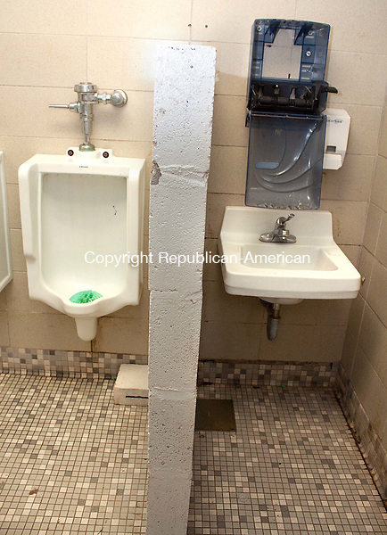 """CHESHIRE APRIL CT- 12 APRIL 2011-041212DA07- This is the only sink for the boys to share inside the Cheshire High School locker room. Parents are calling the room """"deplorable"""" and that they say are making their kids sick..Darlene Douty Republican American"""