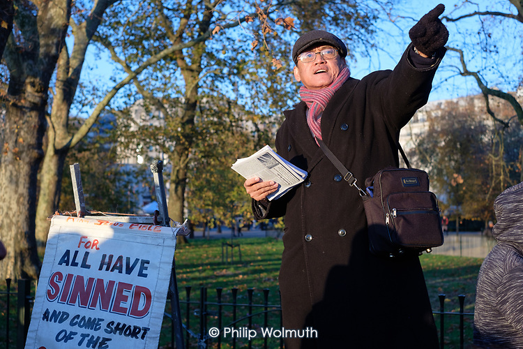 Christian preacher, Speakers' Corner, Hyde Park, London.