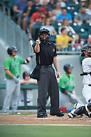 Home plate umpire Rich Grassa makes a strike call during the International League game between the Gwinnett Braves and the Charlotte Knights at BB&T BallPark on July 12, 2019 in Charlotte, North Carolina. The Stripers defeated the Knights 9-3. (Brian Westerholt/Four Seam Images)