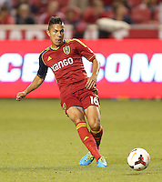 Carlos Salcedo #16 of Real Salt Lake moves the ball down field during a game against of D.C. United during the first half of the U.S. Open Cup Final on October  1, 2013 at Rio Tinto Stadium in Sandy, Utah.