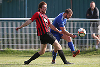 James Barlow of Redbridge and Jack Leachman of Saffron Walden during Redbridge vs Saffron Walden Town, Essex Senior League Football at Oakside Stadium on 7th September 2019