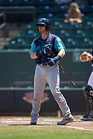 Gavin Collins (9) of the Lynchburg Hillcats at bat against the Winston-Salem Rayados at BB&T Ballpark on June 23, 2019 in Winston-Salem, North Carolina. The Hillcats defeated the Rayados 12-9 in 11 innings. (Brian Westerholt/Four Seam Images)