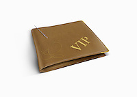 The letters VIP being embroidered on wallet
