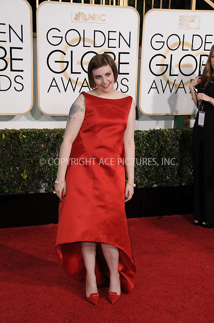 WWW.ACEPIXS.COM<br /> <br /> January 11 2015, LA<br /> <br /> Lena Dunham arriving at the 72nd Annual Golden Globe Awards at The Beverly Hilton Hotel on January 11, 2015 in Beverly Hills, California.<br /> <br /> By Line: Peter West/ACE Pictures<br /> <br /> <br /> ACE Pictures, Inc.<br /> tel: 646 769 0430<br /> Email: info@acepixs.com<br /> www.acepixs.com