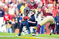 Landover, MD - November 18, 2018: Houston Texans wide receiver DeAndre Hopkins (10) moves the chains with a 8 yard gain during first half action of game between the Houston Texans and the Washington Redskins at FedEx Field in Landover, MD. (Photo by Phillip Peters/Media Images International)
