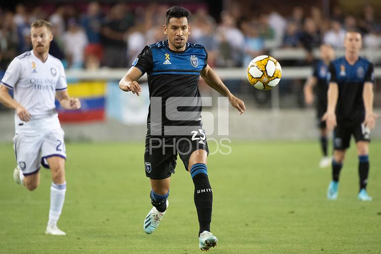 SAN JOSE,  - SEPTEMBER 1: Andy Rios #25 of the San Jose Earthquakes during a game between Orlando City SC and San Jose Earthquakes at Avaya Stadium on September 1, 2019 in San Jose, .