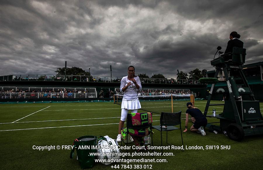 Jelena Jankovic<br /> <br /> Tennis - The Championships Wimbledon  - Grand Slam -  All England Lawn Tennis Club  2013 -  Wimbledon - London - United Kingdom - Monday 24th June  2013. <br /> &copy; AMN Images, 8 Cedar Court, Somerset Road, London, SW19 5HU<br /> Tel - +44 7843383012<br /> mfrey@advantagemedianet.com<br /> www.amnimages.photoshelter.com<br /> www.advantagemedianet.com<br /> www.tennishead.net