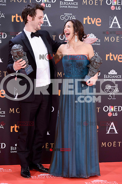 Raul Arevalo and Beatriz Bodegas pose to the media with the Goya award at Madrid Marriott Auditorium Hotel in Madrid, Spain. February 04, 2017. (ALTERPHOTOS/BorjaB.Hojas) /NORTEPHOTO.COM