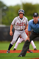 GCL Braves outfielder Bradley Keller (26) leads off second during a game against the GCL Astros on July 23, 2015 at the Osceola County Stadium Complex in Kissimmee, Florida.  GCL Braves defeated GCL Astros 4-2.  (Mike Janes/Four Seam Images)