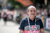 Giro boss Mauro Vegni at the race start in Pinerelo<br /> <br /> Stage 13: Pinerolo to Ceresole Reale/Lago Serrù (196km)<br /> 102nd Giro d'Italia 2019<br /> <br /> ©kramon