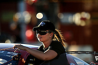Sept. 4, 2010; Clermont, IN, USA; NHRA pro stock driver Erica Enders during qualifying for the U.S. Nationals at O'Reilly Raceway Park at Indianapolis. Mandatory Credit: Mark J. Rebilas-