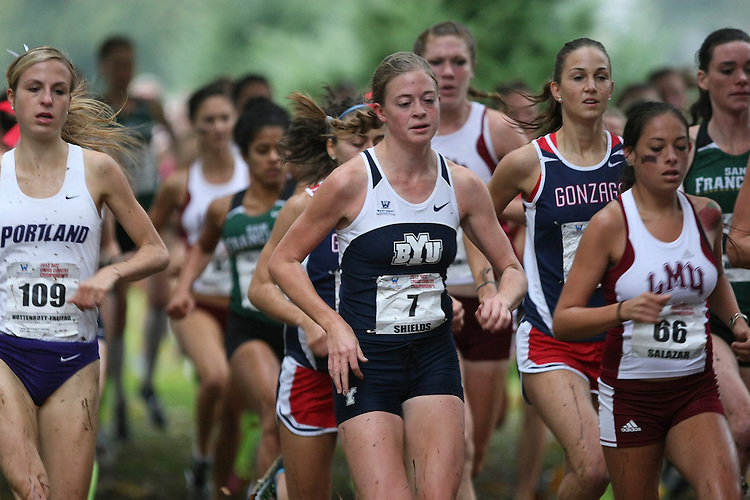 October 27, 2012; Portland, OR, USA; during the WCC Cross Country Championships at Fernhill Park.BYU Cougars runner Natalie Shields (7)