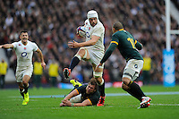 Dave Attwood of England in full flight during the QBE International match between England and South Africa at Twickenham Stadium on Saturday 15th November 2014 (Photo by Rob Munro)