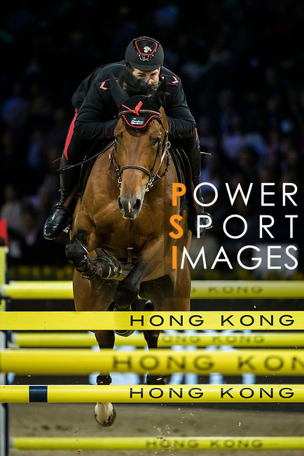 Emanuele Gaudiano of Italy riding Jamar d'Ysenbeeck Z competes in the Longines Grand Prix during the Longines Masters of Hong Kong at AsiaWorld-Expo on 11 February 2018, in Hong Kong, Hong Kong. Photo by Ian Walton / Power Sport Images