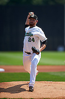 Clinton LumberKings pitcher Zack Littell (24) delivers a pitch during a game against the Great Lakes Loons on August 16, 2015 at Ashford University Field in Clinton, Iowa.  Great Lakes defeated Clinton 3-2.  (Mike Janes/Four Seam Images)