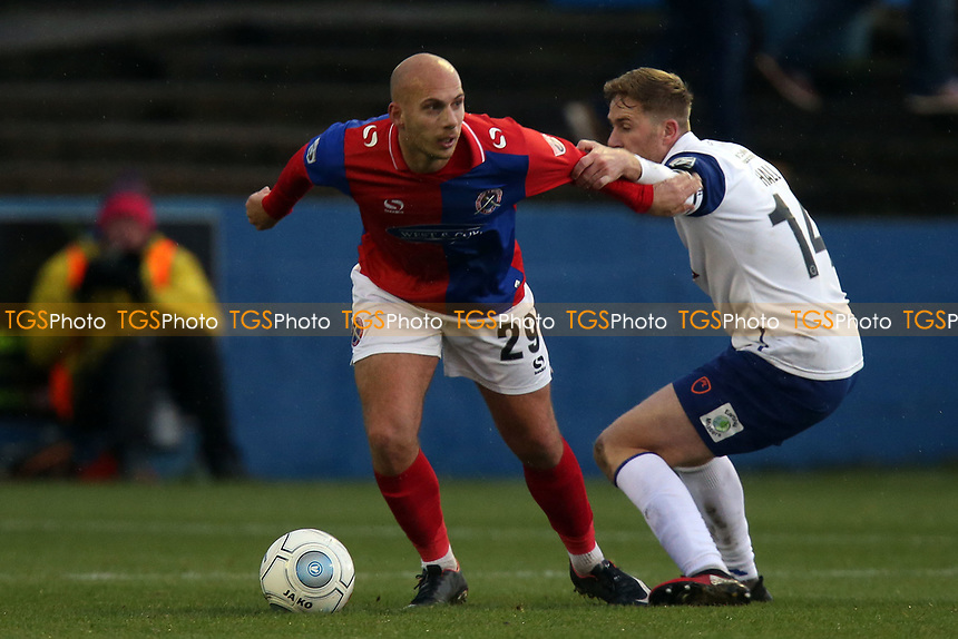 Asa Hall of Barrow and Jake Howells of Dagenham during Barrow vs Dagenham & Redbridge, Vanarama National League Football at the Furness Building Society Stadium on 9th December 2017