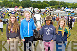 Roisin Whelan, Sarah Jane Foley Milltown, was negotiating with Leah and Brigid Flahive Ballylongford for their hors Gabriella at the horse fair in Puck Fair on Sunday