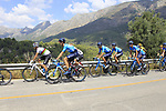 The peloton including World Champion Alejandro Valverde (ESP) Movistar Team on the Cat 2 climb to Puerto de Confrides during Stage 2 of La Vuelta 2019 running 199.6km from Benidorm to Calpe, Spain. 25th August 2019.<br /> Picture: Ann Clarke | Cyclefile<br /> <br /> All photos usage must carry mandatory copyright credit (© Cyclefile | Ann Clarke)