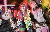 Dressed in festive costumes, member of the Kostume Kult float celebrate during the 41st Annual Halloween Parade. 10.31.2014. Photo by Marco Aurelio/VIEWpress