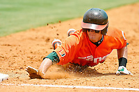 May 31, 2009:  NCAA Division 1 Gainesville Regional:    Miami SS Ryan Jackson dives back into first base during 2nd round regional action at Alfred A. McKethan Stadium on the campus of University of Florida in Gainesville.  Miami Hurricanes eliminated Jacksonville 4-0 and will advance to the finals against Florida............