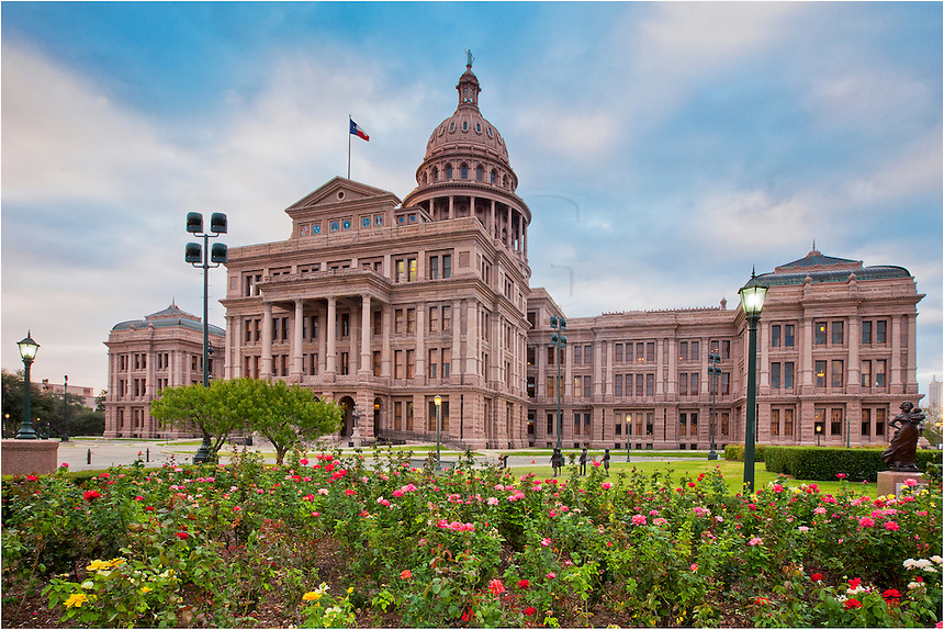 The state capitol building in Austin, Texas, is a great place to explore. This view comes from the north end of the complex and overlooks a rose garden on a peaceful morning.