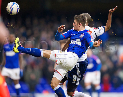 16.03.2013 Ipswich, England.  Aaron Cresswell of Ipswich in action during the Championship game between Ipswich Town and Bolton at Portman Road.