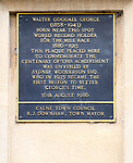 Commemoration plaque to Walter Goodall George (1858-1943), mile race world record holder (1886-1915), Calne, Wiltshire, England, UK