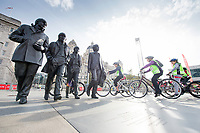 Picture by Allan McKenzie/SWpix.com - 24/09/2017 - Cycling - HSBC UK City Ride Liverpool - Albert Dock, Liverpool, England - Riders ride out of the hub in front of the Beatles bronze.