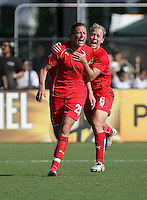 Abby Wambach (20) and Lori Lindsey (6). Washington Freedom defeated FC Gold Pride 4-3 at Buck Shaw Stadium in Santa Clara, California on April 26, 2009.