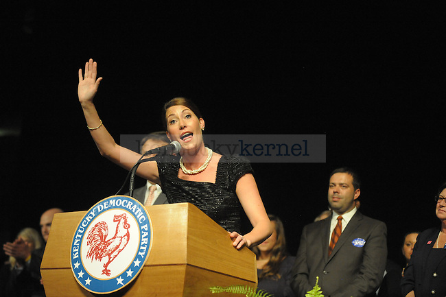 Alison Lundergan Grimes gives her victory speech for Kentucky Secretary of State at the Kentucky Democratic Party election party in Frankfort, Ky. Photo by Mike Weaver |