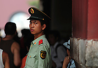 Aug. 6, 2008; Beijing, CHINA; A paramilitary policeman guards the Forbidden City in Beijing. The Olympics begin at 8pm on August 8, 2008. Mandatory Credit: Mark J. Rebilas-