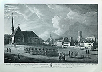 Cathedral, Jesuits' College and Recollect Friars' Church, or Eglise des Recollets, on the Place des Armes, with soldiers on parade, seen from the Government Gate, engraving by P Canot after a drawing by Richard Short, published in 1761 as a collection of Views of Quebec in the 18th century, by Thomas Jefferys in London, in the collection of the Musees du Quebec, Quebec City, Quebec, Canada. The wing to right of Church was the monastery, used as a State prison. To the right is Tressor Lane, and the ruins of the French cathedral, now the basilica. Picture by Manuel Cohen