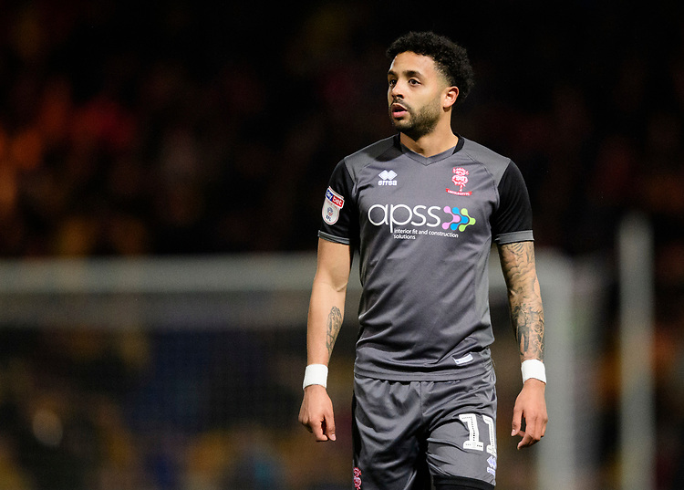 Lincoln City's Bruno Andrade<br /> <br /> Photographer Chris Vaughan/CameraSport<br /> <br /> The EFL Sky Bet League Two - Mansfield Town v Lincoln City - Monday 18th March 2019 - Field Mill - Mansfield<br /> <br /> World Copyright © 2019 CameraSport. All rights reserved. 43 Linden Ave. Countesthorpe. Leicester. England. LE8 5PG - Tel: +44 (0) 116 277 4147 - admin@camerasport.com - www.camerasport.com