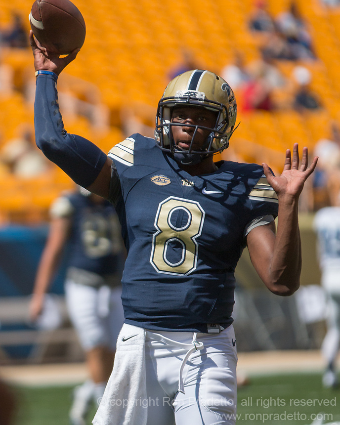 Pitt quarterback Manny Stocker. The Pitt Panthers defeated the Villanova Wildcats 28-7 at Heinz Field, Pittsburgh, Pennsylvania on September 3, 2016.